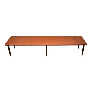Mid Century Long Walnut Coffee Table For Sale