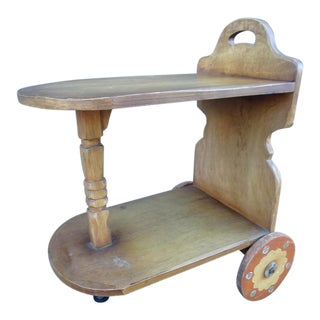 1930s Monterey Coronado Juan Duran Tinoco-Decorated Cart/Side Table For Sale