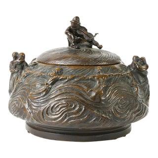Continental Art Nouveau Style Cast Bronze Lidded Vessel With Figures For Sale