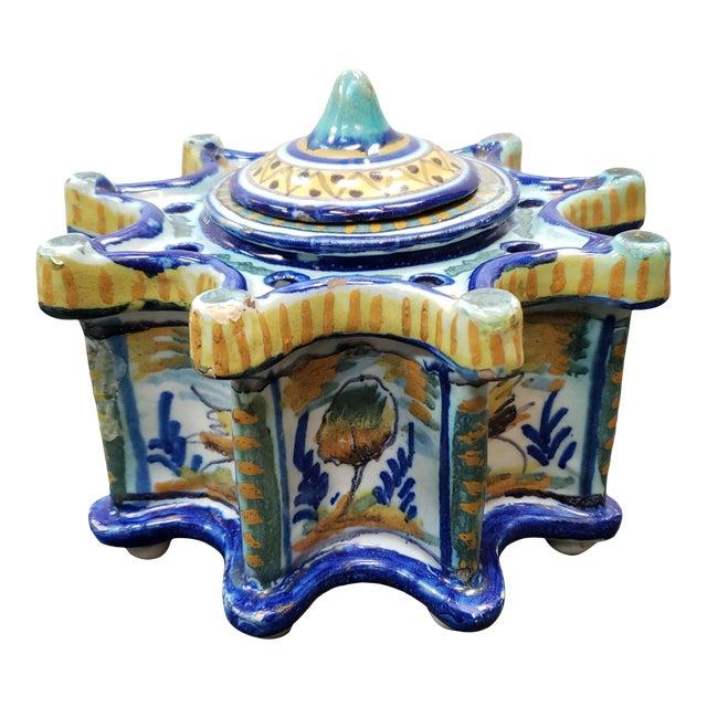 Circa 1900 Spanish Talavera Faience Pottery Inkwell For Sale