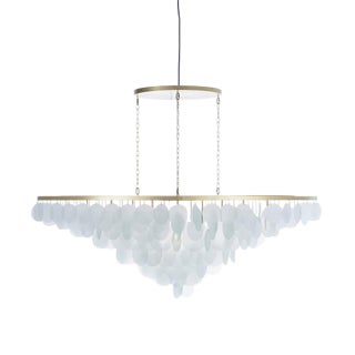 Modern Large Glass and Brass Cloud Chandelier