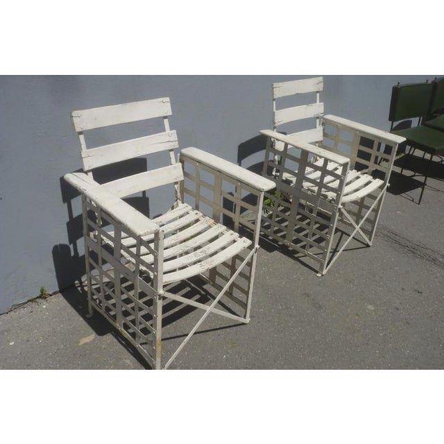 Austrian Sécession Pair of Garden Arm Chairs in Genuine Vintage Condition For Sale - Image 6 of 8