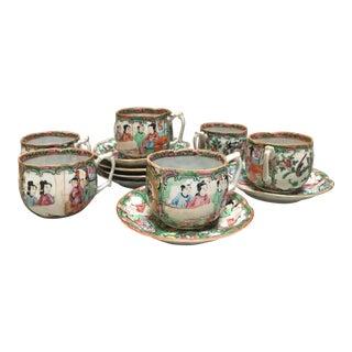 Antique Rose Mandarin Tea Set for 6 For Sale