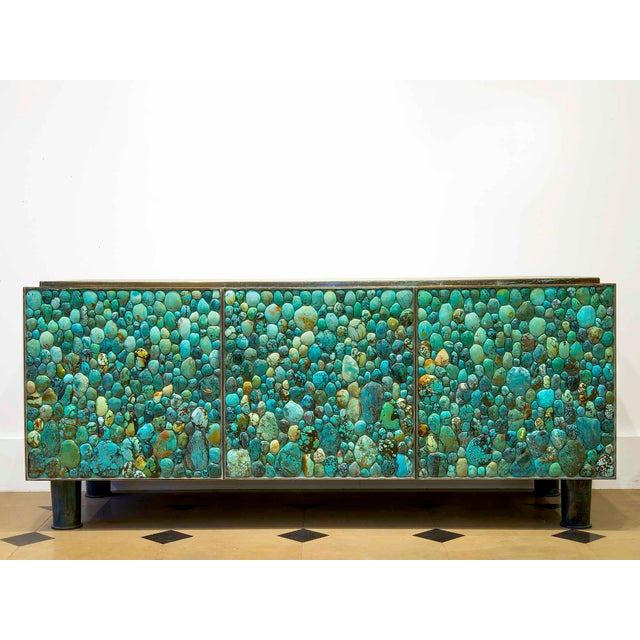 Kam Tin - Sideboard Covered With Real Turquoise Cabochons, France, 2013 For Sale - Image 10 of 10