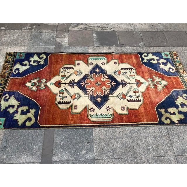 1960s Vintage Turkish Oushak Floral Rug - 3′10″ × 8′3″ For Sale - Image 6 of 11