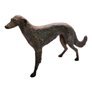 1930s Hubley Cast Iron Borzoi Dog Doorstop For Sale