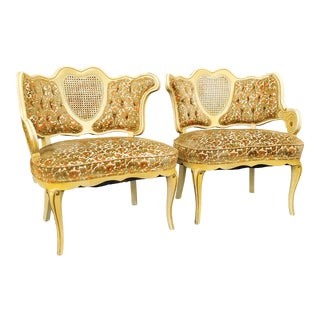 Vintage Victorian French Provincial Cane Ivory Floral Velvet Accent Chairs- a Pair For Sale