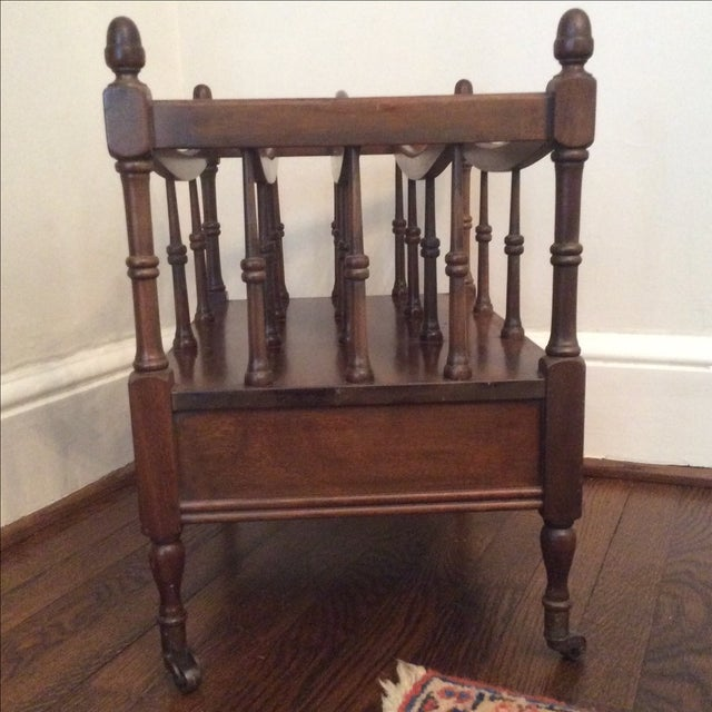 Queen Anne Regency Style Mahogany Canterbury Magazine Rack For Sale - Image 3 of 7