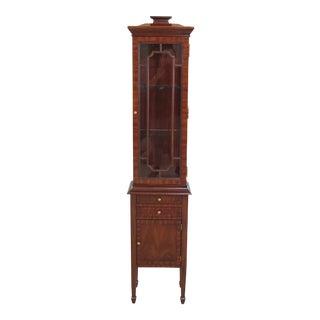Maitland Smith Narrow Mahogany Curio Display Cabinet For Sale