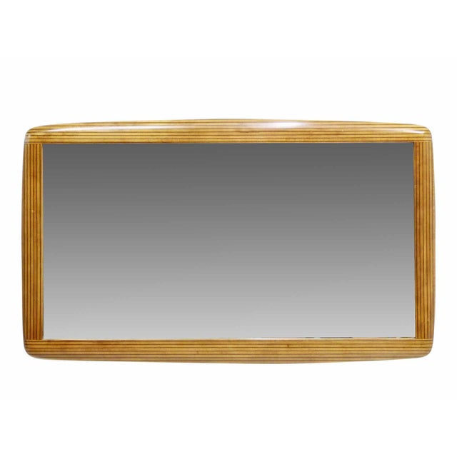 Two Tone Ebony Striped Wall Mirror - Image 1 of 8