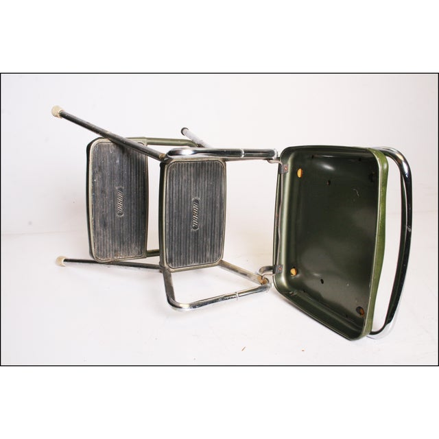 Mid-Century Green Vinyl Chrome Cosco Step Stool - Image 8 of 11