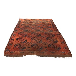 Large Antique Afghan Ersari Area Rug in Reds and Blues For Sale