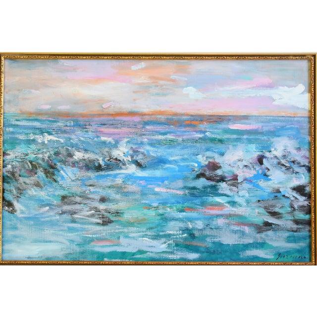 "Ventura, vibrant colorful seascape oil painting on canvas by California artist Juan ""Pepe"" Guzman-Maldonado (b.1948..."