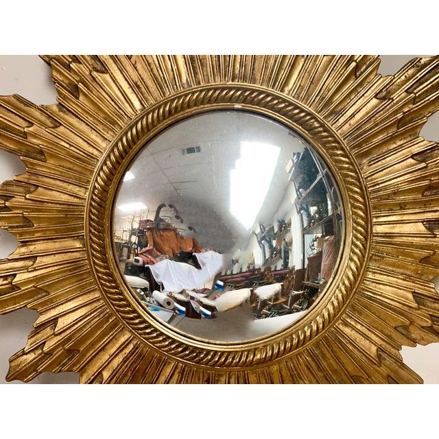 Hollywood Regency Carved Italian Hollywood Regency Sunburst Mirror For Sale - Image 3 of 6