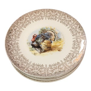1940's Dinner Plates Cream With Turkey and Gold Fillagree Design - Set of 6 For Sale