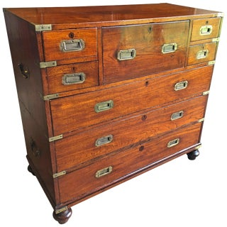 Early 19th Century Anglo-Indian Mahogany Campaign Chest With Desk For Sale