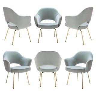 Original Saarinen Executive Arm Chairs in Celadon Velvet, Custom Restored 24k Gold Edition - Set of 6 For Sale