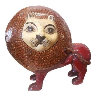 Vintage Sermel Tonala Jal Mexico Folk Art Paper Mache Lion Sculpture For Sale