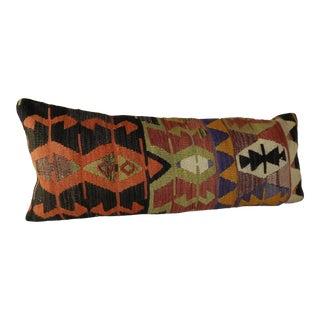 Turkish Kilim Lumbar Pillow 16x40 For Sale
