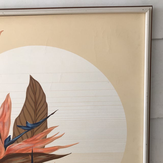 905941fa6931 This giant signed Lettermen painting depicts a gorgeous 1970s sunset and  florals scene featuring birds of