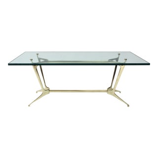 20th Century Italian Brass and Glass Coffee Table For Sale