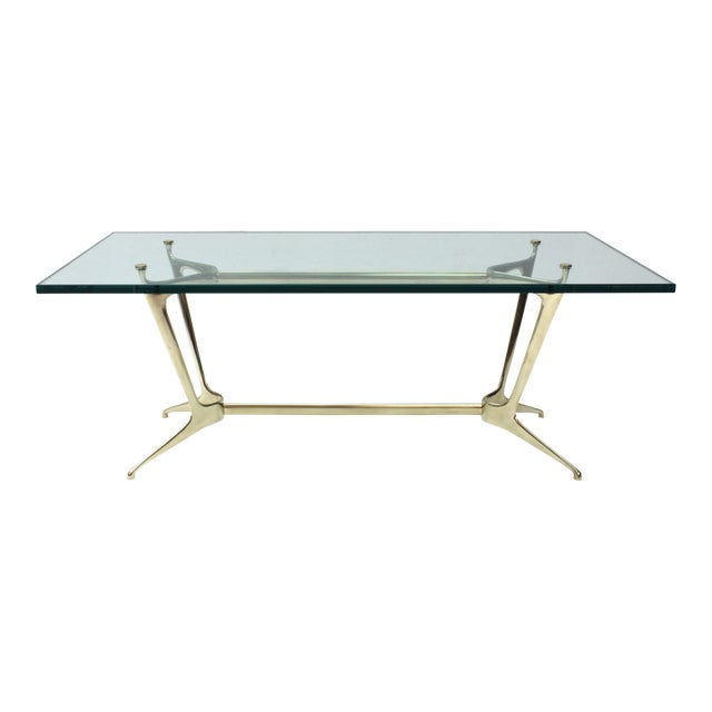Italian Glass Coffee Table.20th Century Italian Brass And Glass Coffee Table