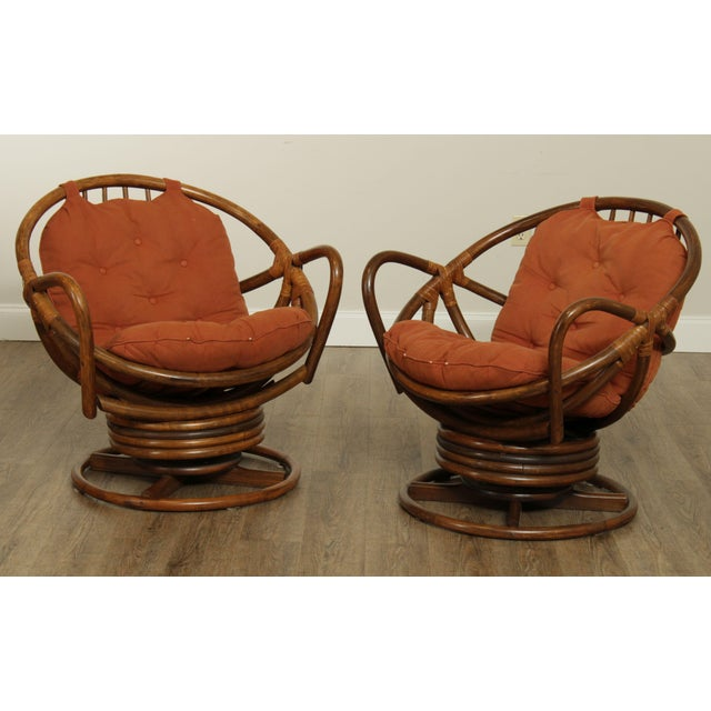 High Quality Vintage Pair of Swivel, Rocking Lounge Chairs With Tufted Cushions Store Item#: 26429