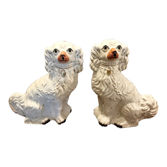 Pair Large English Staffordshire Spaniels, C. 1860 For Sale
