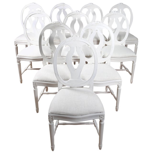1900s Vintage Swedish Gustavian Style Dining Chair (16 Available) For Sale