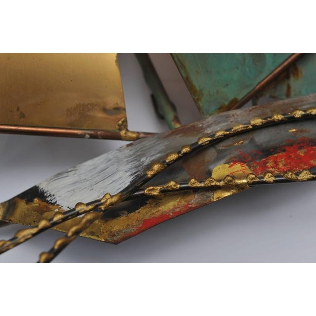 Brutalist Signed Curtis Jere` Brutalist Period Sailboat Wall Sculpture, 1969 For Sale - Image 3 of 6