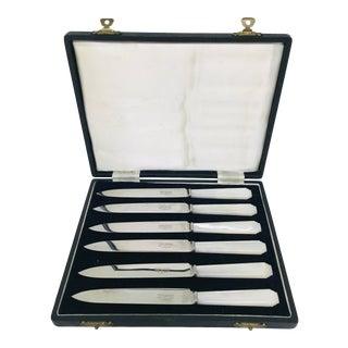 1920s Vintage Cooper Bros & Sons Mother of Pearl Dessert Knives - Set of 6 For Sale