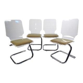 Luigi Bardini Lucite and Chrome Dining Chairs