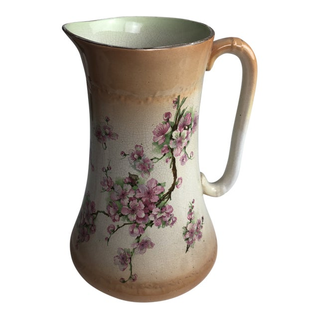 Hand Painted Floral Pitcher For Sale