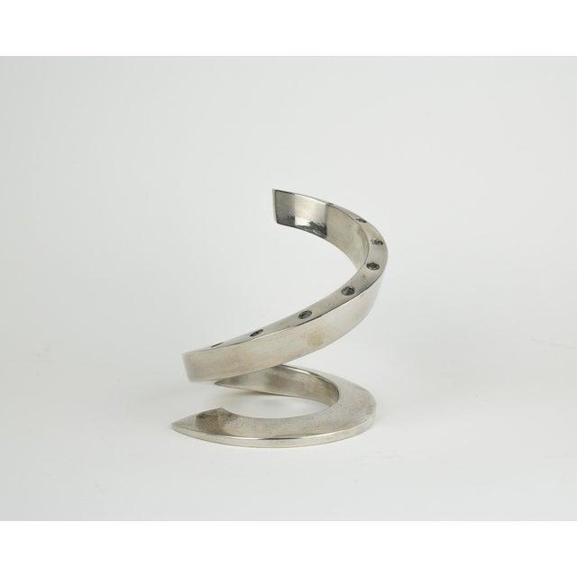 1960s Minimalistic Dansk Silver Spiral Candle Holder For Sale - Image 11 of 11