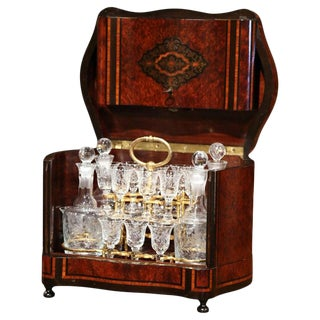 19th Century French Napoleon III Walnut and Burl Complete Cave a Liqueur For Sale
