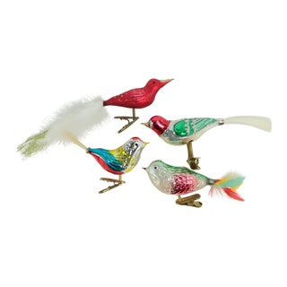 Blown Glass Clip Bird Christmas Ornaments - Set of 4 For Sale
