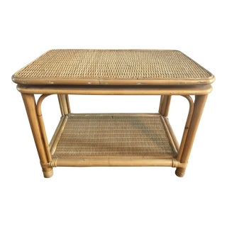 Natural Bamboo Wicker Rattan Swivel Top Table For Sale