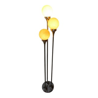 Chrome & Murano Italian Floor Lamp For Sale