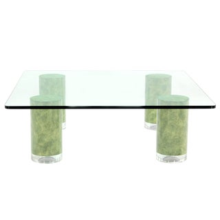 Huge Square Glass Top Coffee Table on Thick Cylinder Legs For Sale
