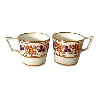 19th C. English Porcelain Espresso Cups - a Pair For Sale