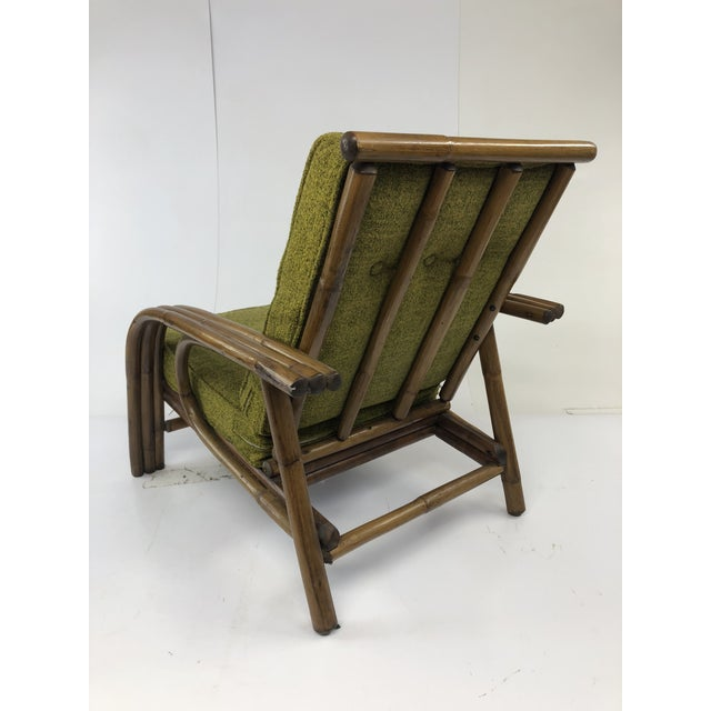 Americana Mid Century Boho Chic Bamboo Lounge Chair With Green Upholstery For Sale - Image 3 of 13