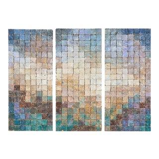 """Elizabeth Macdonald """"Landscape"""" 1982 Clay Tile Art Triptych - Set of 3"""