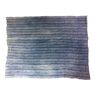 Vintage Indigo Striped African Textile For Sale