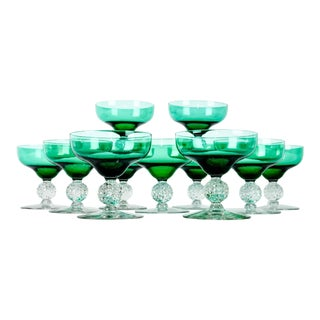 Vintage Eleven Green Crystal Coupe