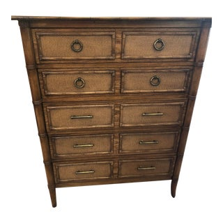 Thomasville Faux Bamboo Tall Chest For Sale