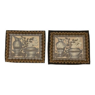 Antique Aubusson Tapestry Pillow Fragments - A Pair For Sale