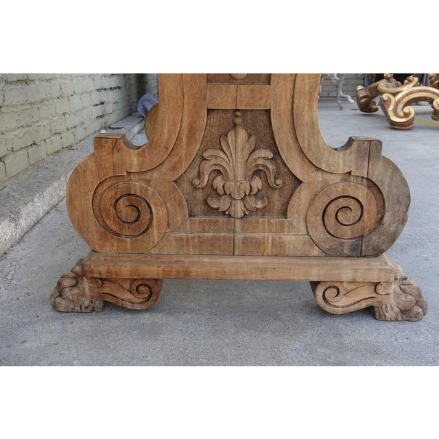 Carved Italian Trestle Writing Table, Circa 1900 For Sale - Image 4 of 10