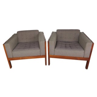 Vintage Mid-Century Danish Modern Mahogany Club Chairs- A Pair For Sale