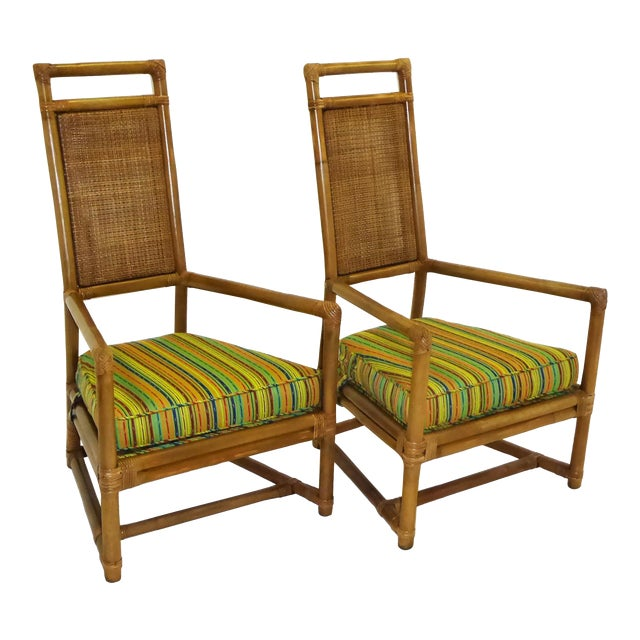 Tommi Parzinger High Back Rattan Armchairs - A Pair For Sale