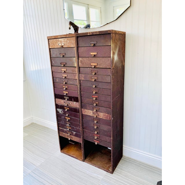 Industrial Metal Watchmaker/Jeweler Parts Cabinets - a Pair For Sale In Tampa - Image 6 of 13